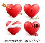 Red Hearts Vector 3d Realistic...
