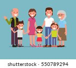 cheerful happy big family  mom  ... | Shutterstock .eps vector #550789294
