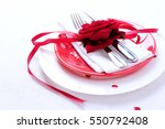 Red And White Table Setting Fo...
