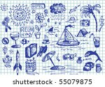set of hand drawn relax images | Shutterstock .eps vector #55079875