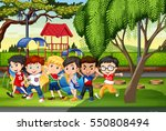 many kids in the park... | Shutterstock .eps vector #550808494