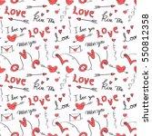 cute love and heart doodles... | Shutterstock .eps vector #550812358