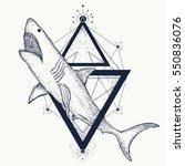 shark tattoo geometric style.... | Shutterstock .eps vector #550836076