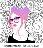 beautiful girl with pink hair... | Shutterstock . vector #550878160