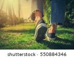 women jeans and shoes. | Shutterstock . vector #550884346