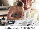 thoughtful stressed young... | Shutterstock . vector #550887760