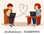 cute couple   a boy and a girl. ... | Shutterstock .eps vector #550889494