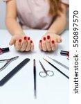 nail care. closeup of beautiful ... | Shutterstock . vector #550897570