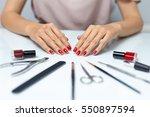 nail care. closeup of beautiful ... | Shutterstock . vector #550897594