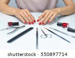 nail care. closeup of beautiful ... | Shutterstock . vector #550897714