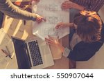 group of people discussing... | Shutterstock . vector #550907044