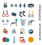 weightlifting flat vector icons ... | Shutterstock .eps vector #550909663