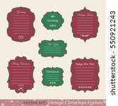 vector set of vintage christmas ... | Shutterstock .eps vector #550921243