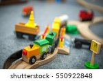 child boy play with wooden... | Shutterstock . vector #550922848