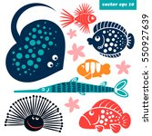 cute sea creatures. isolated... | Shutterstock .eps vector #550927639