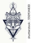 fox tattoo geometric style.... | Shutterstock .eps vector #550934830