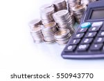 couns and calculator on white... | Shutterstock . vector #550943770