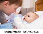six year old toddler sharing... | Shutterstock . vector #550950568