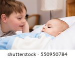 six year old toddler sharing... | Shutterstock . vector #550950784