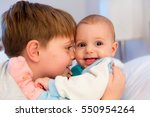 six year old toddler sharing... | Shutterstock . vector #550954264