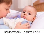 six year old toddler sharing... | Shutterstock . vector #550954270