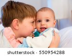 six year old toddler sharing... | Shutterstock . vector #550954288