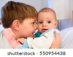 six year old toddler sharing... | Shutterstock . vector #550954438