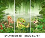 set of dinosaur with tropical...   Shutterstock . vector #550956754