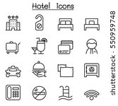 hotel icon set in thin line
