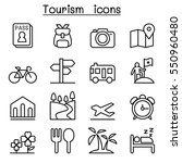 tourism icon set in thin line... | Shutterstock .eps vector #550960480