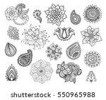 henna doodle vector elements.... | Shutterstock .eps vector #550965988