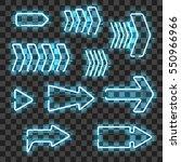 set of glowing blue neon arrows ... | Shutterstock .eps vector #550966966