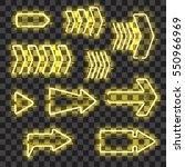 set of glowing yellow neon... | Shutterstock .eps vector #550966969