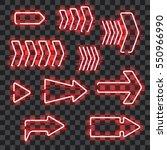 set of glowing red neon arrows... | Shutterstock .eps vector #550966990