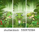 set of dinosaur with tropical... | Shutterstock . vector #550970584