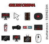 online cinema flat icons set | Shutterstock .eps vector #550982344
