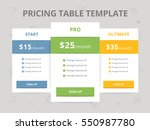 pricing table template with... | Shutterstock .eps vector #550987780