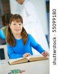 elementary age schoolgirl... | Shutterstock . vector #55099180