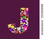 letter of beautiful flowers j | Shutterstock .eps vector #551003068