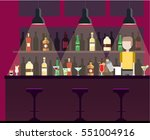 Stock vector bar pub night club interior flat illustration with bottles beverages cocktails man works as a 551004916