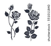 black silhouette roses and... | Shutterstock .eps vector #551011840