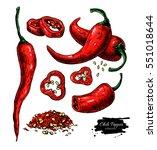 chili pepper hand drawn vector... | Shutterstock .eps vector #551018644