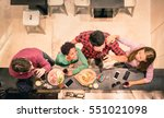 top view of multi racial... | Shutterstock . vector #551021098
