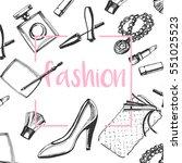 fashion sketch set. hand drawn... | Shutterstock .eps vector #551025523