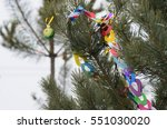 christmas decorations on spruce ... | Shutterstock . vector #551030020