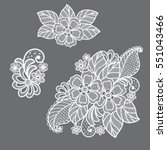lace flowers decoration element | Shutterstock .eps vector #551043466