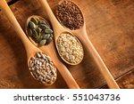 food ingredients in wooden... | Shutterstock . vector #551043736