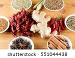 mixed spice ginger  chilli ... | Shutterstock . vector #551044438