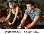 young man and woman biking in... | Shutterstock . vector #551047363