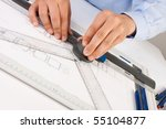 architect working on... | Shutterstock . vector #55104877